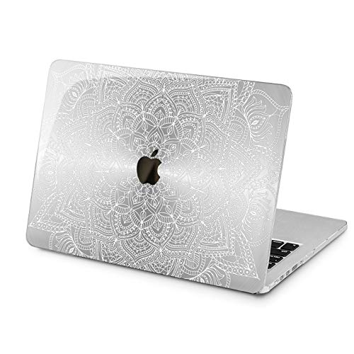 "Cavka Hard Shell Case for Apple MacBook Pro 13"" A2338 2020 Air 13"" A2179 Retina 2015 Mac 11"" Mac 12"" Look Foil Design Mandala Silver Protective Print Plastic Simple Laptop Bohemian Texture Cover"