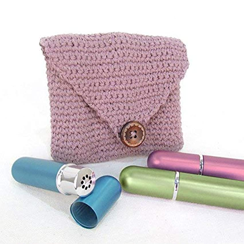 Purple Crochet Case and 3 Empty Essential Oil Aluminum and Glass Refillable Inhalers by Rivertree Life [並行輸入品]
