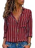 Donna Camicetta Chiffon Blusa Elegante Camicia Manica Lunga Scollo V Camicetta Camicia Bavero Elegante Bluse A Rosso IT 40