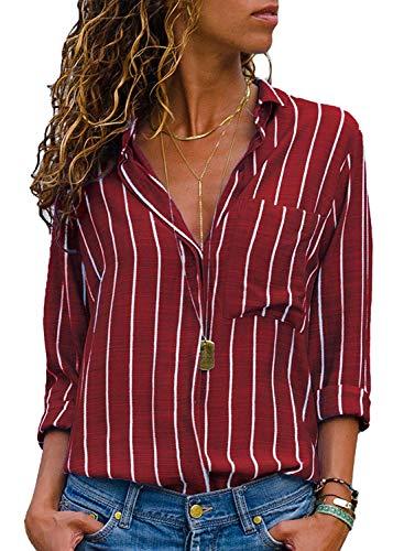 Donna Camicetta Chiffon Blusa Elegante Camicia Manica Lunga Scollo V Camicetta Camicia Bavero Elegante Bluse A Rosso IT 38