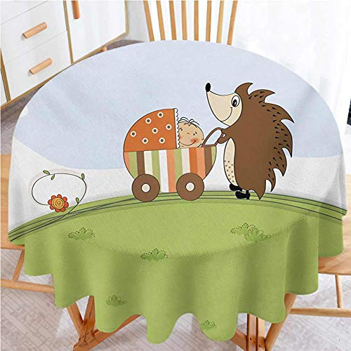 "shirlyhome Funny Circular Table Cover Baby Shower Theme A Hedgehog Pushing a Stroller with Baby Illustration Polyester Fabric Table Cloth Baby Blue Pistachio Green (Diameter 36"")"