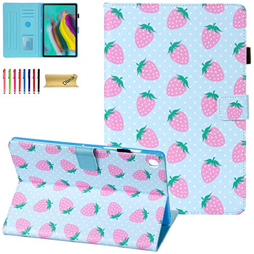 Dteck Case for Samsung Galaxy Tab S5e 10.5 2019 SM-T720/T725 - Premium PU Leather Folio Stand Case with Auto Wake/Sleep Smart Shockproof Cover for Galaxy Tab S5e 10.5-inch Tablet, Strawberry