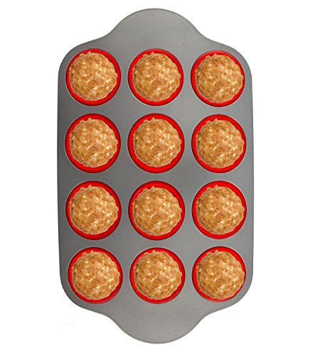 Silicone Muffin Pan With Steel Frame, 12 Cups Full Size | Professional Non-Stick Baking Molds by Boxiki Kitchen | BPA-Free Bakeware | Silicone 12 Cup Muffin Mold