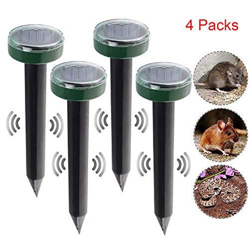 HOODIE Solar Mole Repellent, 4 Pack Ultrasone Zonne-energie Dieren Repeller Waterdicht voor Outdoor Tuin gazon Yard Rid van Mollen Voles Gophers Rats Knaagdieren