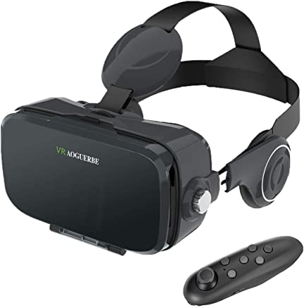 5a0878d5837 AOGUERBE VR Gafas, 3D VR Headset Auriculares de Realidad Virtual Box Virtual  Glasses Controlador Bluetooth