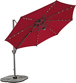 COBANA 10 Ft Solar Powered Lighted Offset Patio Umbrella with Blue-Tooth Speaker and 360 Degree Rotation, Dark Red
