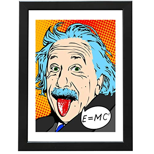 Lámina Decorativa [ Albert Einstein ] con Marco | Cuadro de Albert Einstein [ Fórmula Relatividad estilo Comic Pop ] | Diseño Exclusivo | Con Marco (24 x 33 cm.)