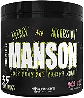 Dark Metal Inc. Manson High Stim Pre Workout Powder, Energy Focus Strength, Loaded with Beta Alanine L-Carnitine Caffeine Infinergy, 35 Srvgs, Mixed Berry