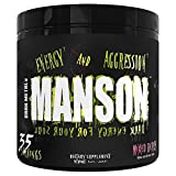 Dark Metal Inc Manson High Stim Pre Workout Powder, Energy Focus Strength, Loaded with Beta Alanine L Carnitine Caffeine Infinergy, 35 Srvgs, Mixed Berry