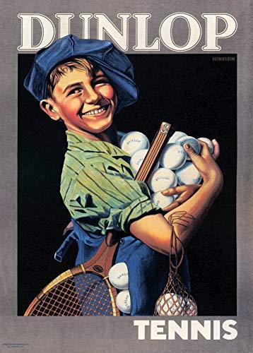 Poster vintage con razze da tennis e palline c1920, 250 g/m², riproduzione artistica lucida, formato A3