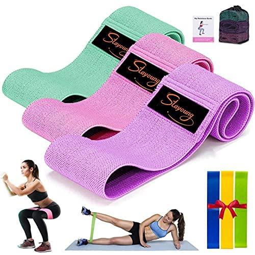 Bandas de Resistencia 6 pzs Bandas Elásticas Fitness de resistencia para las piernas con guía de entrenamiento,Bandas de Tela con Uso en Gym, Pilates, Yoga y en Casa hombres y mujeres