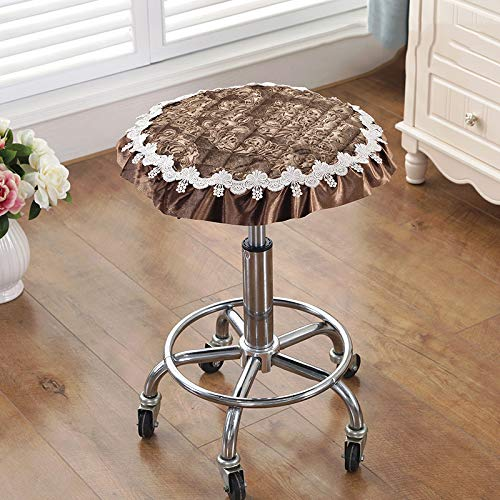 Love-CUSHION Effen rond stoelkussen, Europees goudfluweel bekleed stoffen kussen, draaistoel, zitkussen, kantbekleding met dragers