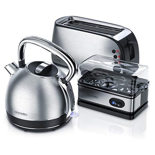 Arendo Edelstahl Wasserkocher + 4-Scheiben Toaster inkl. Brötchenaufsatz +Eierkocher für 1-6 Eier