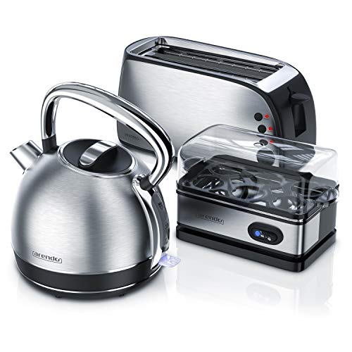 Arendo Hervidor de agua 722303564722 de acero inoxidable + tostadora de 4 rebanadas, incluye accesorio para panecillos y cuecehuevos para 1-6 huevos