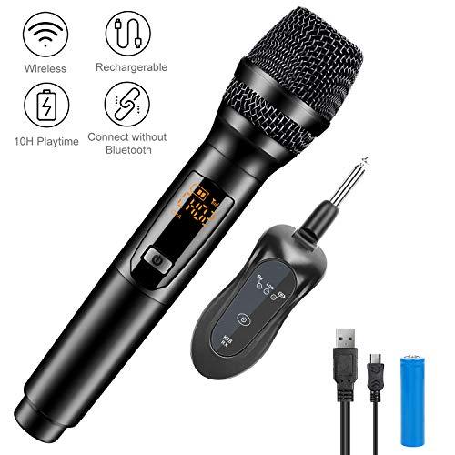 Kabelloses Mikrofon, Gifort Mikrofon 10 Kanal UHF Funkmikrofon Handheld Dynamisches Mikrofone mit Mini Empfänger, für Haushalt/Karaoke/Geschäftstreffen/PC (Batterie eingeschlossen)(Schwarz)