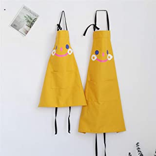 Lindong - Delantal con dibujos bonitos de animales y bolsillo para adultos y niños, resistente al agua, de algodón, de lino, amarillo, Erwachsene Größe (nur 1 Stück)