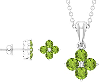 Rosec Jewels - 3 CT Peridot Pendant and Earrings Set, Clover Flower Pendant (AAA Quality)