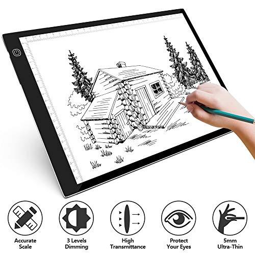 SAMTIAN LED Leuchttisch A4 Licht Pad ultradünne Leuchtplatte Tragbare Led Light Pad Zeichenbrett mit einstellbarer Helligkeit für Künstler Malen Animation Skizzieren Entwerfen