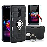 EDSAM Case Compatible with LG Stylo 4/Q Stylo/Stylus 4/Stylo 4 Plus with HD Screen Protector,Dual Layer Shockproof Case with 360 Degree Ring Kickstand Fit Magnetic Car Mount for LG Stylo 4 (Black)