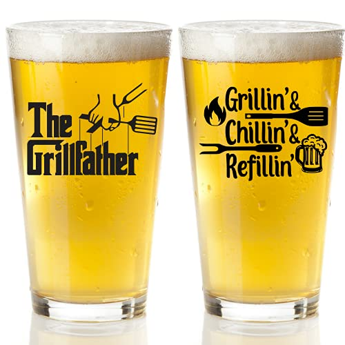 Funny Beer Glass Set For Men - Humorous Fathers Day Gift For Men - Best Dad Or Stepdad Gift for Summer Grilling, Valentines Day, Birthday, Christmas - Beer Glass Grill Accessories