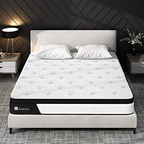 Queen Mattress, Avenco Firm Mattress Queen Size, 9 Inch Hybrid Mattress Queen in a Box, Ergonomic Design with 5 Zone Pocket Innerspring and Breathable Foam, Back Pain Relief, 100 Nights Trial