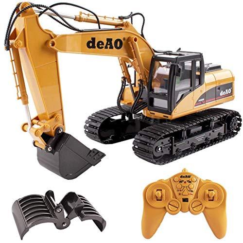 deAO Camión de Construcción 2 en 1 Excavador Teledirigido con Luces y Sonidos Incluye Batería Recargable y Cargador USB