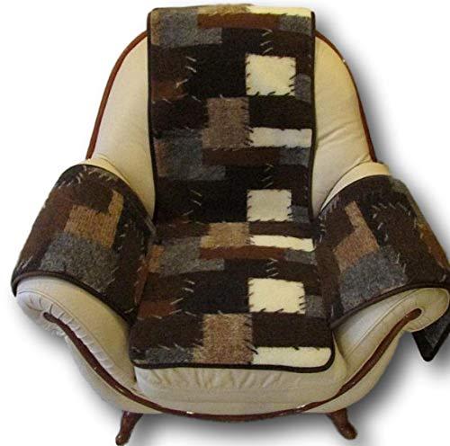 Sesselschoner aus 100% Schurwolle Patchwork 12mm Hoch, 160 x 186 cm mit Armlehnen und Taschen