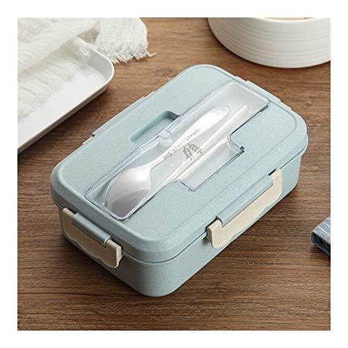 Lonchera de paja de trigo de 1000 ml con cuchara Material saludable Cajas de bento Vajilla de microondas Recipiente de almacenamiento de alimentos Lonchera Home