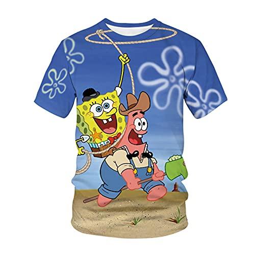 HKYH Spongebob - Camiseta unisex de manga corta con impresin 3D para nios y nias f 5XL