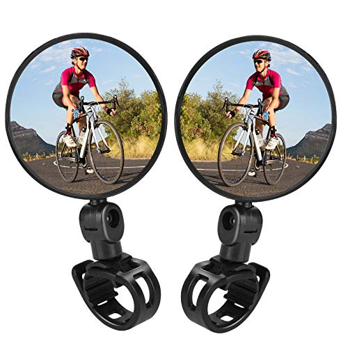 TAGVO Bike Mirrors, 2 pcs Bicycle Cycling Rear View Mirrors Adjustable Rotatable Handlebar Mounted Plastic Convex Mirror for Mountain Road Bike