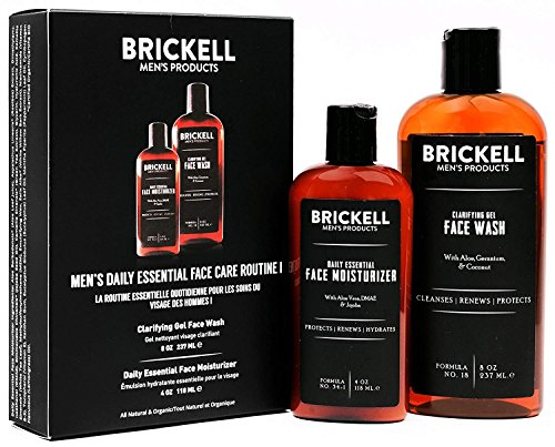 Brickell Men's Daily Essential Face Care Routine I, Gel Facial Cleanser Wash and Face Moisturizer Lotion, Natural and Organic, Unscented