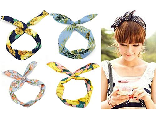 Ericotry Lot de 6 serre-têtes torsadés avec nœud papillon à pois et rayures - Accessoire de coiffure pour femmes et filles (couleurs aléatoires)