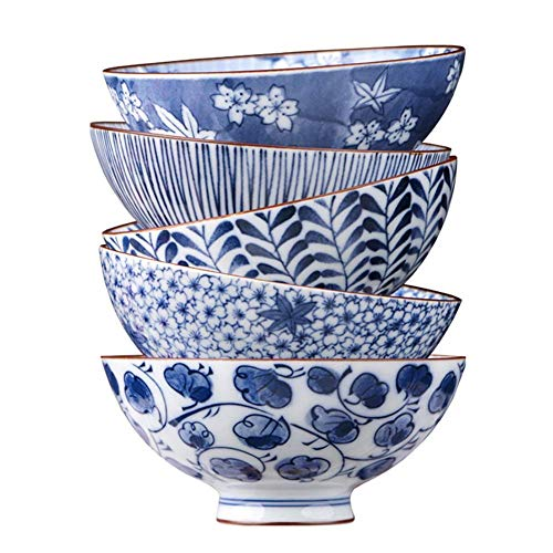 Zixin Soperas de Cereales Cuencos de Sopa Cuencos de 5 Piezas Porcelana Azul y Blanca Cuenco de cerámica del vajilla, la Pintura Azul Proceso vidriado de Color Mejor Regalo