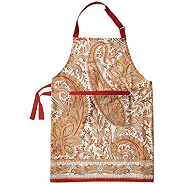 Maison d' Hermine Kashmir Paisley 100% Cotton Apron with an adjustable neck & hidden center pocket, 27.50 - inch by 31.50 - inch