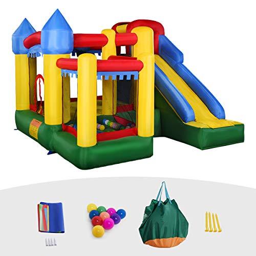 Goplus Castello Gonfiabile per Bambini con 50 Palline, Multicolore 300x300x210 cm