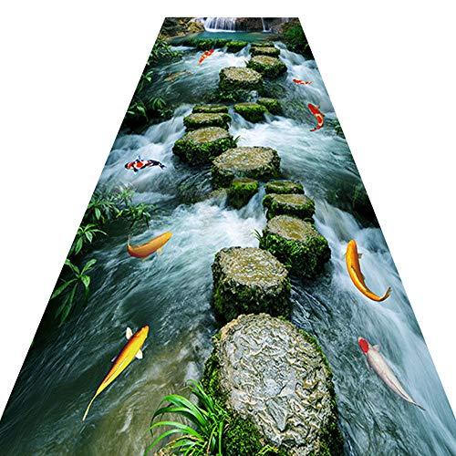 QS Tappeto Guida Corridoio 3D, Illusione Ottica Antiscivolo Pavimento Stuoia con Modello Stradale Pietra per Cucina Soggiorno Pranzo Camera,120x200CM