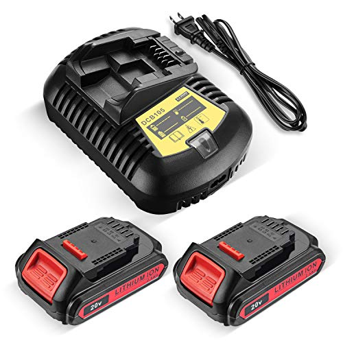 DCB200 Battery Replacement for DeWalt 20V Lithium Battery & Charge + Battery for DeWalt 20V MAX DCB204 DCB207 DCB206 DCB205 DCB201 DCB203 DCB181 DCB180 Impact Drill 2-Pack