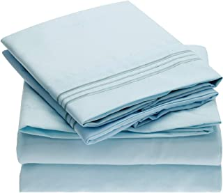 Mellanni Sheet Set-Brushed Microfiber 1800 Bedding-Wrinkle Fade, Stain Resistant - Hypoallergenic - 4 Piece (Queen, Baby Blue),