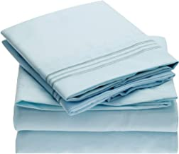 Mellanni Bed Sheet Set - Brushed Microfiber 1800 Bedding - Wrinkle, Fade, Stain Resistant - 5 Piece (Split King, Baby Blue)