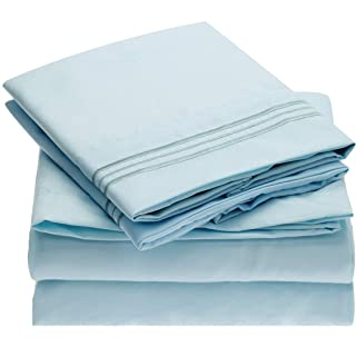 Mellanni Sheet Set Brushed Microfiber 1800 Bedding-Wrinkle Fade, Stain Resistant - Hypoallergenic - 3 Piece (Twin, Baby Blue),