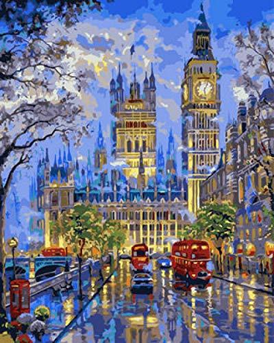 DIY digitaal schilderij, grote Rue der Klok, olieverfschilderij, knutselen, schilderen op nummers, olieverfschilderij, canvas, 40 x 50 cm