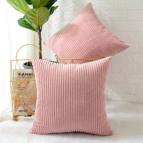 MERNETTE Pack of 2, Corduroy Soft Decorative Square Throw Pillow Cover Cushion Covers Pillowcase, Home Decor Decorations For Sofa Couch Bed Chair 18x18 Inch/45x45 cm (Striped Peach Pink)
