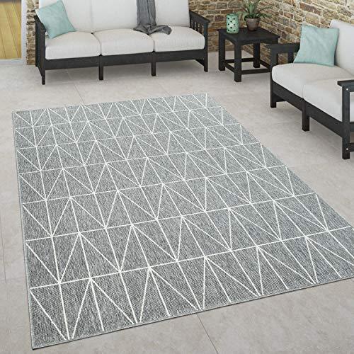 Paco Home In- & Outdoor Teppich, Terrasse u. Balkon, Wetterfest Skandinavischer Stil, Grösse:120x170 cm, Farbe:Grau
