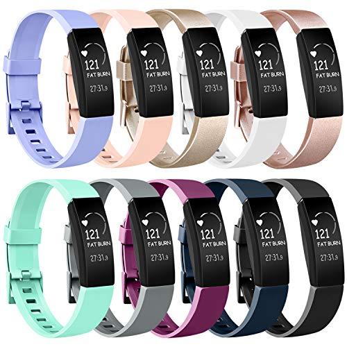 Amzpas Compatible para Fitbit Inspire Correa & Inspire HR Correa, Soft Deportes Pulseras Reemplazo Band Compatible para Fitbit Inspire & Fitbit Inspire HR (#10 Pack, S)