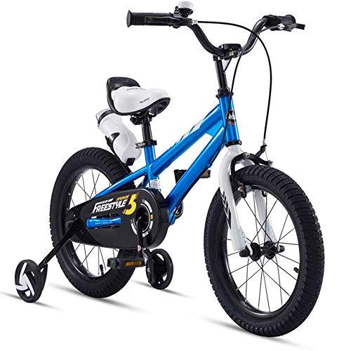 HUAQINEI Bicicleta para niños de Acero con Alto Contenido de Carbono, Adecuada para niños y niñas de 2 a 13 años, Azul