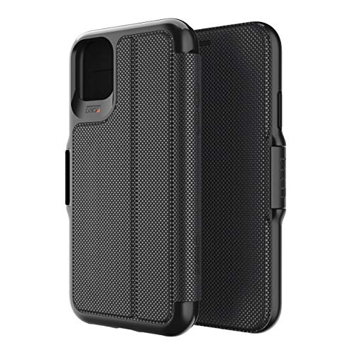 Gear4 Oxford Eco Folio Compatible with iPhone 11 Case, Recycled-Plastic Phone Cover, Advanced Impact Protection with Integrated D3O Technology, Booklet Case – Black