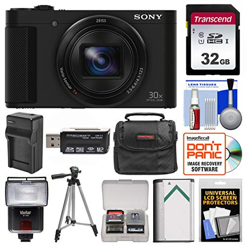 Sony Cyber-Shot DSC-HX90V Wi-Fi GPS Digital Camera with 32GB Card + Case + Flash + Battery & Charger + Tripod + Kit