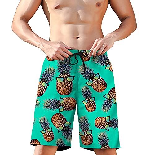 Rave on Friday Herren Ananas Badeshort Sommer Badehosen 3D Druck Kurze Hosen Schnell Trocknend Schwimmhosen Strand Surf Board Shorts S