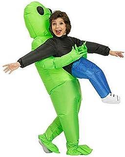 Disfraz inflable Unicornio Niños Adultos ET Verde Alien Llevar Trajes Humanos Inflables Divertidos Blows Up Traje Cosplay-Disfraz de Navidad Halloween Traje de Carnaval Traje (Niños)