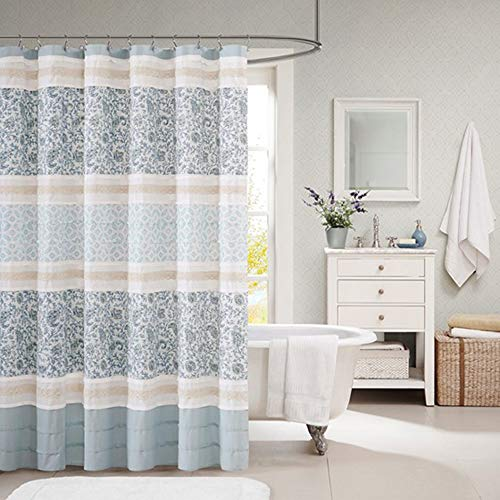 "Madison Park Dawn Cotton Fabric Shower Curtain Pintucked, Paisley Design Machine Washable Shabby Chic Modern Home Bathroom Décor Bathtub Privacy Screen, 72""x72"", Blue"